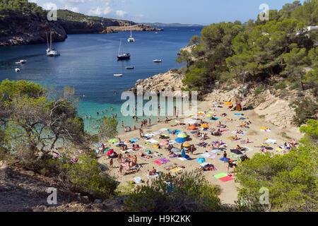 Spain, Balearic Island, Ibiza, Cala Salada beach - Stock Photo