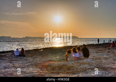 Spain, Balearic Islands, Ibiza, Sant Antoni de Portmany, the sunset - Stock Photo