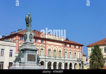 Italy, Piedmont, Biella, sculpture in Piazza Martiri della Libertà - Stock Photo