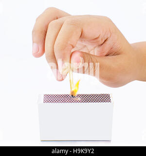Burning match stick in white background - Stock Photo