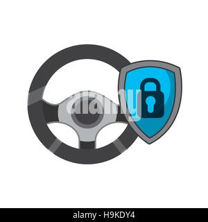 steering  wheel and shield with padlock in a shield over white background. vector illustration - Stock Photo