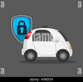 autonomous car vehicle with security shield icon over gray background. colorful design. vector illustration - Stock Photo