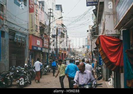 A street scene in Madurai, India - Stock Photo