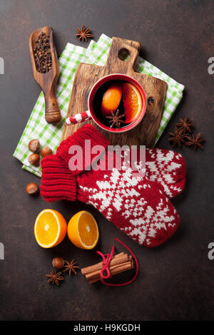 christmas mince pies and mulled wine stock photo, royalty