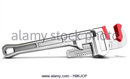 3d pipe wrench on white background 3D illustration - Stock Photo