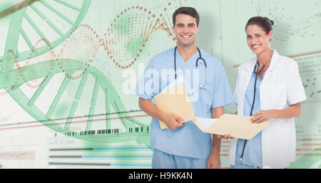 3D Composite image of portrait of male and female doctors with medical reports - Stock Photo