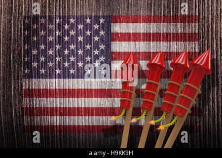 Composite image of 3D rockets for fireworks - Stock Photo