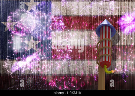 Composite image of 3D rocket for fireworks - Stock Photo