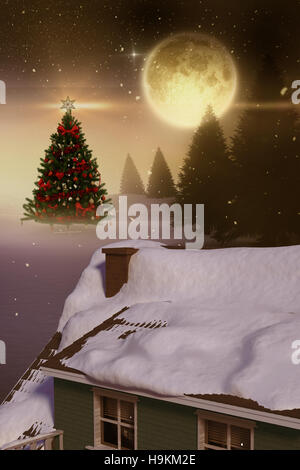 3D Composite image of snow covered roof of house - Stock Photo