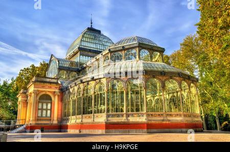 Palacio de Cristal in Buen Retiro Park - Madrid, Spain - Stock Photo