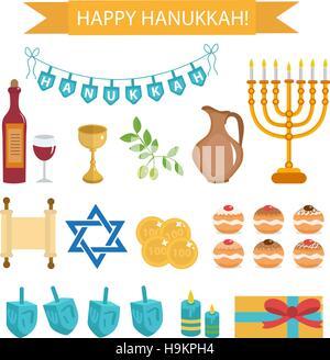 Hanukkah set of cartoon icons.   with Menorah, Torah, Sufganiyot, Olives and Dreidel. Happy  Festival  Lights, flat - Stock Photo