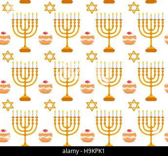 Hanukkah seamless pattern.  background with Menorah, Sufganiyot, star of David. Happy  Festival  Lights, Feast  - Stock Photo
