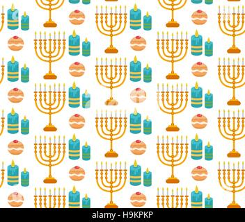 Hanukkah seamless pattern.  background with Menorah, Sufganiyot, candles. Happy  Festival of Lights, Feast  Dedication - Stock Photo