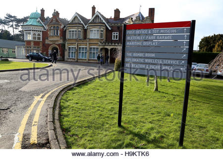 File photo dated 20/02/13 of the Mansion House at Bletchley Park in Milton Keynes, Buckinghamshire, as the home - Stock Photo