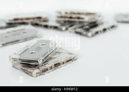 Cassette tape on white background - Stock Photo