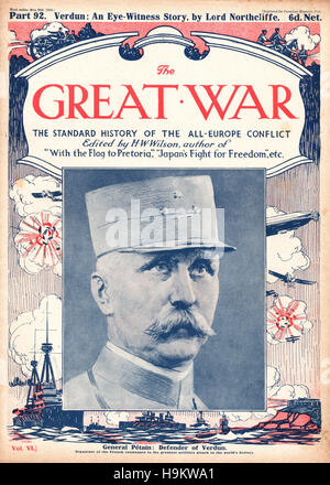1916 The Great War front page General Pétain - Stock Photo