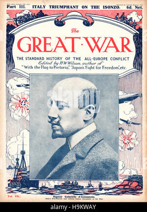 1916 The Great War front page Gabriele D'Annunzio, poet - Stock Photo