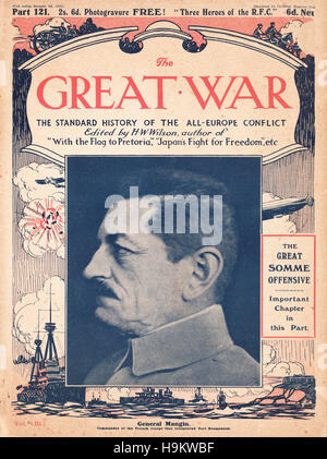 1916 The Great War front page General Charles Mangin - Stock Photo