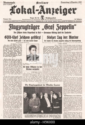 1938 Berliner Lokal-Anzeiger front page (Germany) Launching of aircraft carrier Graf Zeppelin and overthrow of Soviet - Stock Photo