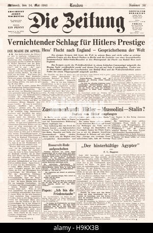 1941 Die Zeitung front page Hitler's Deputy Rudolf Hess files to Britain - Stock Photo