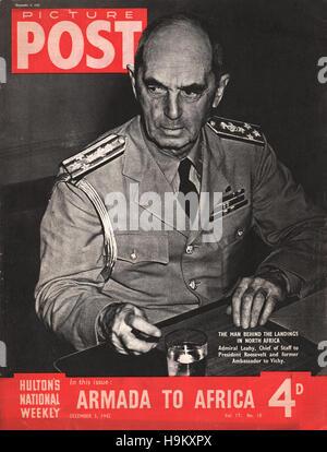1942 Picture Post Admiral William Daniel Leahy - Stock Photo