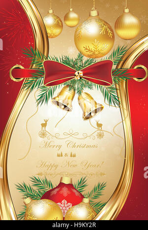 Christmas and New Year greeting card. Contains elegant ribbon, pine tree branches, fireworks and Christmas baubles. - Stock Photo