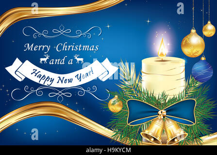 Merry Christmas and Happy New Year greeting card for winter Holidays, with candle, blue ribbon and pine tree branches - Stock Photo
