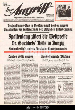 1939 Der Angriff (Germany) front page Political crisis over Danzig - Stock Photo