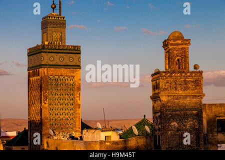 Minarets In The Medina, Fez el Bali, Fez, Morocco - Stock Photo