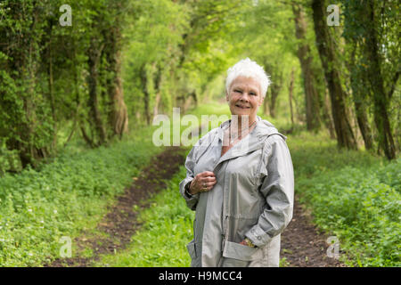 Dame Judi Dench posing in a countryside location - Stock Photo