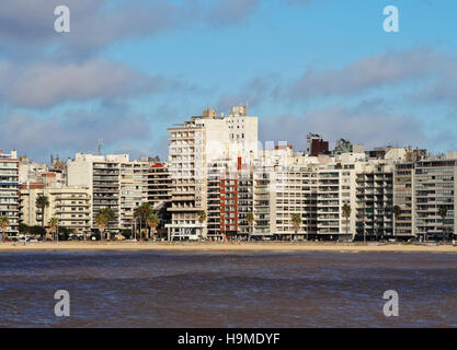 Uruguay, Montevideo, View of the Pocitos Beach on the River Plate. - Stock Photo