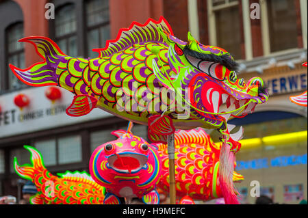 Fish and lanterns from Chinese New year celebrations - Stock Photo