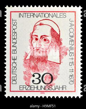 German postage stamp (1970) : John Amos Comenius (Jan Amos Komenský / Johann Amos Comenius: 1592 – 1670) Czech philosopher, - Stock Photo