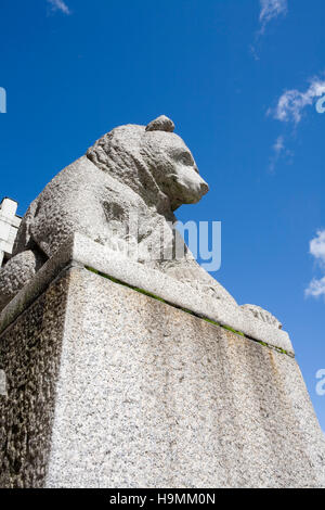 Bear statue in front of Finnish National Museum Helsinki - Stock Photo