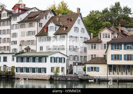 Along the Limmat River in Zurich, Switzerland - Stock Photo