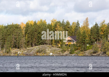 Summer house at lake Saimaa, Taipalsaari Finland - Stock Photo