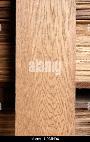 Plank of wood in timber processing plant, Templin, Uckermark district of Brandenurg, Germany. - Stock Photo