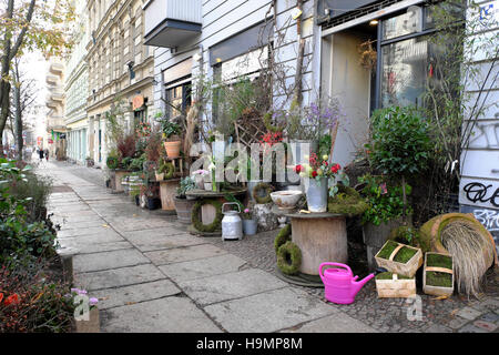 Trangly Blumen Florist shop on Marienburger Straße in November Prenzlauer Berg street in autumn Berlin, Germany - Stock Photo