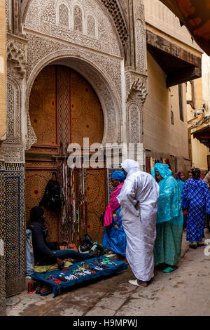 Life In The Medina, Fez el Bali, Fez, Morocco - Stock Photo