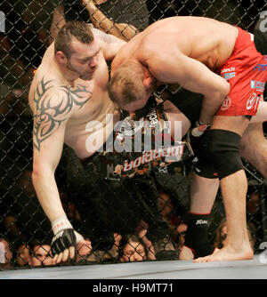 Randy Couture, right, fights Tim Sylvia during Ultimate Fighting Championship UFC 68 at the Nationwide Arena in - Stock Photo