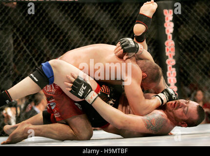 Randy Couture , top, fights Tim Sylvia during  Ultimate Fighting Championship UFC 68 at the Nationwide Arena in - Stock Photo