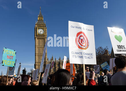 Demonstrators at Parliament Square during the Time To Act, National Climate March organised by Campaign Against - Stock Photo