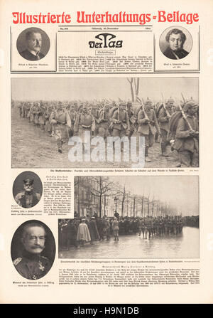1914 Berliner Lokal Anzeiger German and Austro-Hungarian soldiers on the Eastern Front - Stock Photo