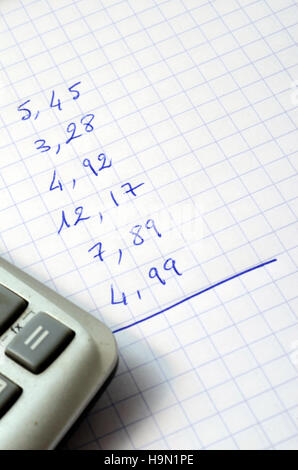 Sum of figures for outlay written on note pad - Stock Photo