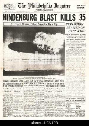 1937 The Philadelphia Inquirer (USA) front page reporting the Hindenburg zeppelin disaster at Lakehurst, New Jersey - Stock Photo