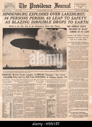 1937 The Providence Journal  (USA) front page reporting the Hindenburg zeppelin disaster at Lakehurst, New Jersey - Stock Photo