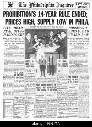 1937 The Philadelphia Inquirer (USA) front page End of prohibition - Stock Photo