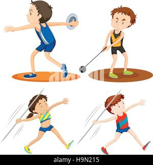 People doing track and field sports illustration - Stock Photo