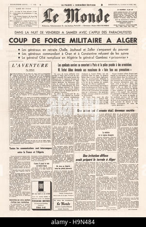 1961 Le Monde (France) front page War in Algeria - Stock Photo