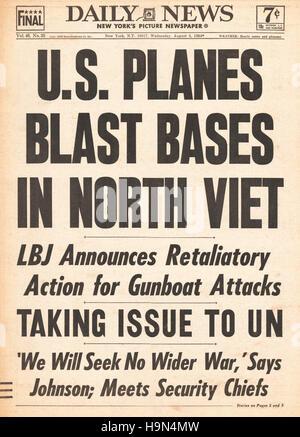 1964 Daily News (New York) U.S Airforce bombs North Vietnam